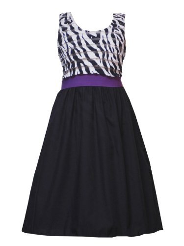 Review Rare Editions Girls 7-16 BLACK WHITE PURPLE RUFFLE BODICE ZEBRA PRINT
