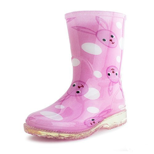 Rain Girls JR Youth High Low Heels Ankle Water Tall Mid Calf Rain Boots Jelly Shoes (8, Bunny) (Mid Heel Jellies compare prices)