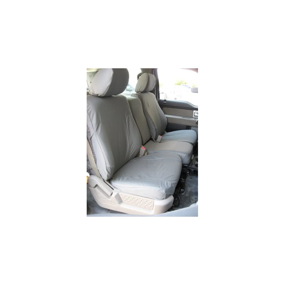 Exact Seat Covers, F461 X7, 2009 2010 Ford F150 XLT Front 40/20/40 Split Seats with Opening Center Console Custom Exact Fit Seat Covers, Gray Automotive Twill