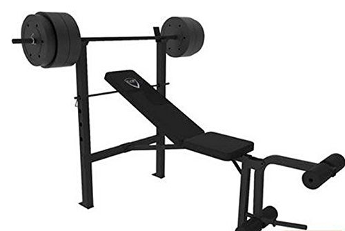 CAP-Barbell-Deluxe-Bench-w-100-Pound-Weight-Set