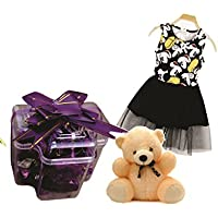Skylofts Stylish Chocolate Box With A Cute Teddy & Awesome Mickey Dress For Girls (3-4years)