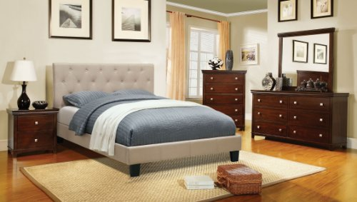 Furniture of America Roy Fabric Platform Bed with Button Tufted Headboard Design, Queen, Ivory