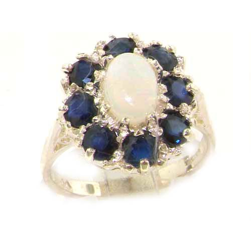 Luxury Ladies Solid Sterling Silver Natural Opal & Sapphire Large Cluster Ring - Size 12 - Finger Sizes 5 to 12 Available - Suitable as an Anniversary ring, Engagement ring, Eternity ring, or Promise ring