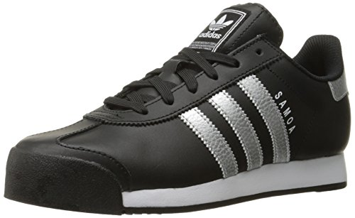 Adidas Originals Women's Samoa W Fashion Sneaker, Black/Metallic Silver/White, 10 M US