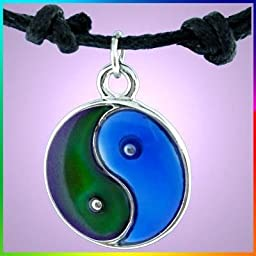 Blue and Green Yin Yang Love and Mood Friendship Pendent Cord Necklace