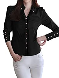 Allegra K Women Long Sleeve Button De…