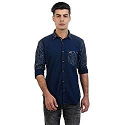 Sting Blue Printed Slim Fit Full Sleeve Cotton Casual Shirt
