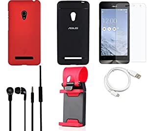 NIROSHA Tempered Glass Screen Guard Cover Case Headphone USB Cable Mobile Holder for ASUS Zenfone 5 - Combo