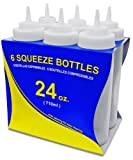New Star Foodservice 26238 Wide Mouth Plastic Squeeze Bottles, 24-Ounce, Clear, Set of 6