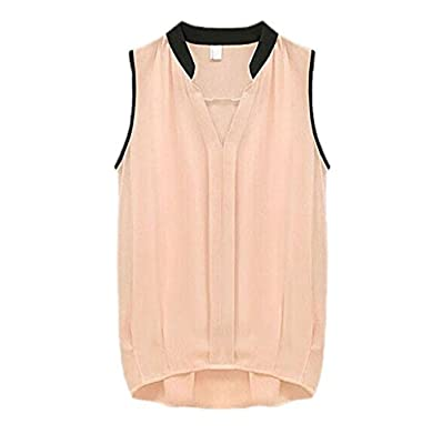 Pooqdo Women Sleeveless Loose Chiffon Shirt Stitching Chiffon Shirt Blouse (Pink)