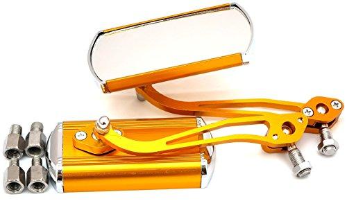 【4色から選べる】 スクエア 型 バイク ミラー 左右セット カスタム ツートンカラー 正ネジ 8mm と 10mm の アダプター 付 (黄 ( イエロー))