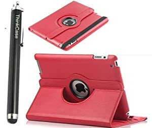 "ThinkCase Magnetic 360 Rotating Smart Case Cover For ""The New iPad"" 4 /3rd Gen //iPad 2 Automatically Wakes and Puts the iPad 4 & 3 & 2 to Sleep+Stylus(RED)"