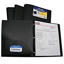 C-Line Two-Pocket Heavyweight Poly Portfolio with Prongs, For Letter Size Papers, Includes Business Card Slot, 1 Case of 25 Portfolios, Black (33961)