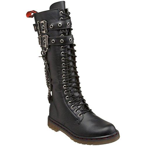DEMONIA DISORDER-403 Men Gothic Punk 20 Eyelet Knee High 2 Buckle Combat Boot