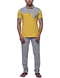 Yellow Grey Cotton Half Sleeves Collar Neck Comfortable, Soft Night Suit For Mens/Boys Grey Full Length Lower...