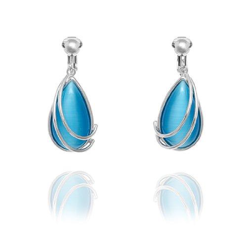 Rodney Holman Droplet Clip On Earrings - Ocean Blue
