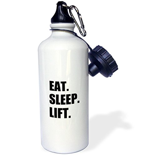 3dRose wb_180419_1 Eat Sleep Lift-Weightlifting-Weight Lifting Fitness Body Building Sports Water Bottle, 21 oz, White (Body Building Water Bottles compare prices)
