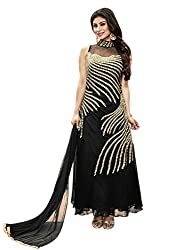Fashions World Exclusive Black abd Golden Work Gown with Dupatta