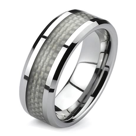 Mens Titanium White Carbon Fiber Fashion Wedding Ring 8mm (Available in Sizes 5 -15) (9)