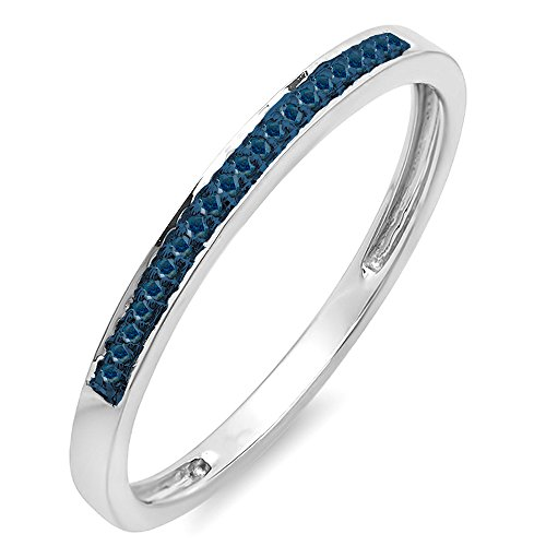 010-Carat-ctw-10K-White-Gold-Round-Blue-Diamond-Ring-Wedding-Anniversary-Stackable-Band