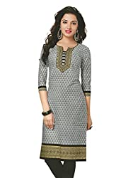 PShopee Grey Cotton Printed Unstitched Kurti/Top Material