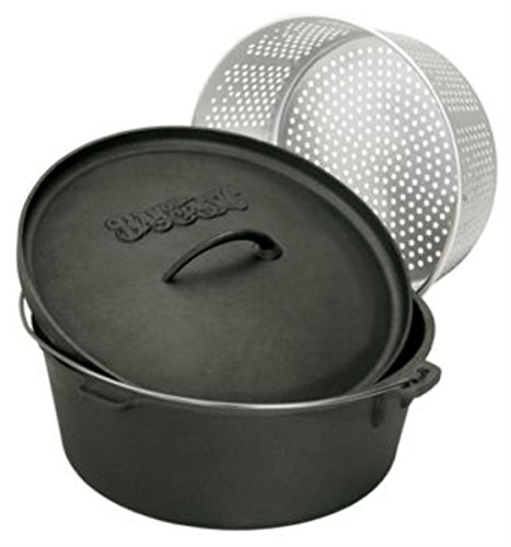 Bayou Classic 7420 20-Quart Cast Iron Dutch Oven with Dutch Oven Lid and Perforated Aluminum Basket (Oven Fish compare prices)