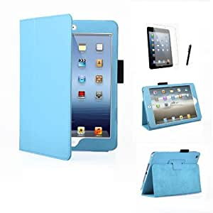 MOFRED® Light Blue Executive PU Leather Multi Function Standby Case for iPad Mini with Built in Magnet for Sleep / Wake Feature + Screen Protector + Stylus Pen (Available in Multiple Colors)
