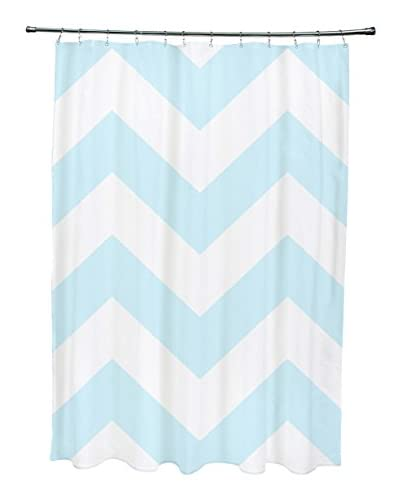 e by design Chevron Shower Curtain, Blue/Ivory
