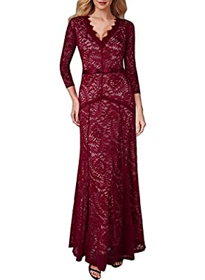 Womens Ladies Lace Wedding Evening Long Party Dresses for Special Occasion