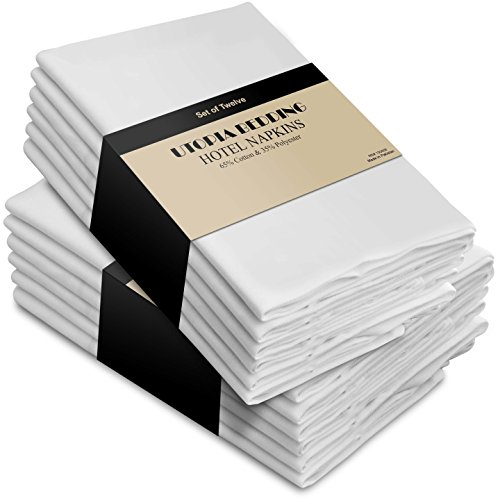 Cotton Dinner Napkins White - 12 Pack (18 inches x18 inches) Soft and Comfortable - Durable Hotel Quality - Ideal for Events and Regular Home Use - by Utopia Kitchen (Napkin Restaurant compare prices)