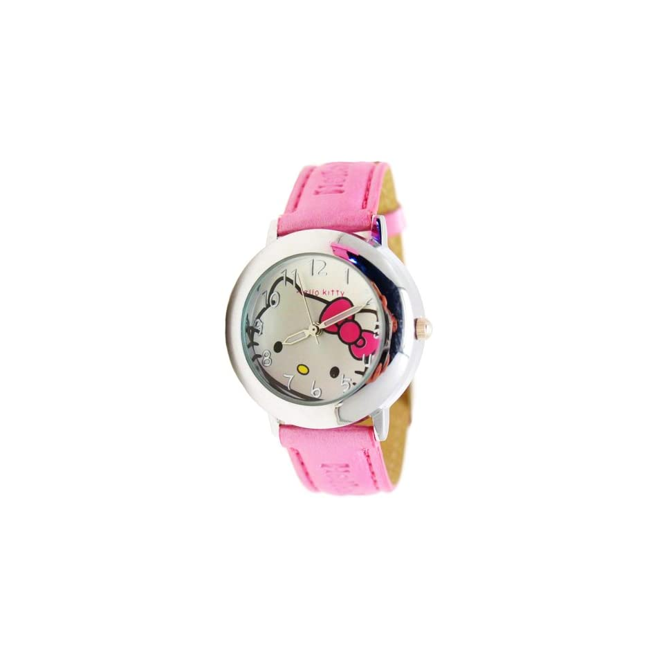 New Hello Kitty Black Lady Leather Wrist Watch Bag1P43
