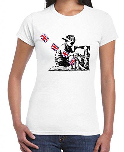 Tribal T-Shirts Women'S Banksy Slave Labour Sewing Machine Boy T-Shirt Small White