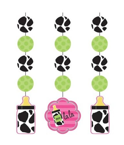 Creative Converting Baby Girl Cow Print Hanging Cutout Party Decorations, 3-Count