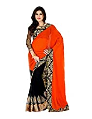 Half And Half Designer Party Wear Saree - B00V9ZIFCK