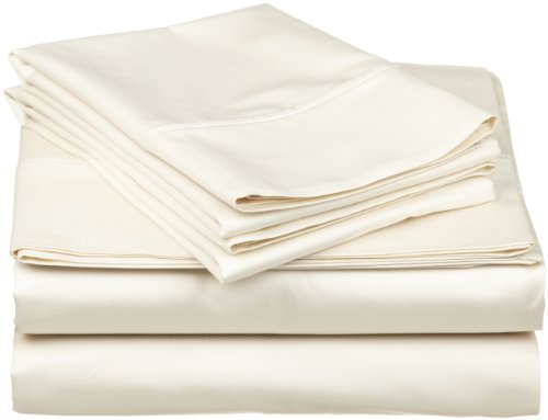 Impressions Genuine Egyptian Cotton 300 Thread Count California King 4-Piece Sheet Set Solid, Ivory