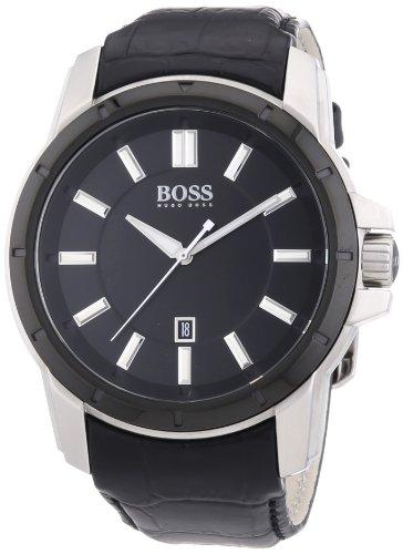 Hugo Boss  1512922 - Reloj de cuarzo para hombre, con correa de cuero, color negro