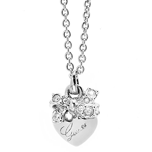 Guess Damen-Kette mit Anhänger Herz Messing Glas weiß 45.5 cm - UBN21583 thumbnail