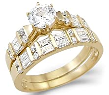 buy Size- 6 - New Solid 14K Yellow Gold Solitaire Cz Cubic Zirconia Two Ring Wedding Set 2.0 Ct