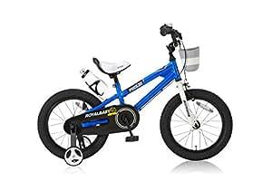 ROYALBABY(ロイヤルベイビー) 16インチ BMXスタイル 子供用自転車 フルカバーチェーンケース リアバンドブレーキ 取っ手付きサドル RB-Freestyle 16 ブルー