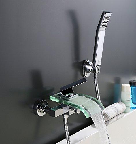 ® Armatur Wasserhahn Mischbatterie Wasserfall Badewanne Wasserhahn Chrom (B)