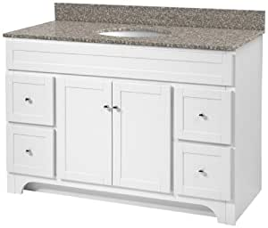 48 inch white bathroom vanity with burlywood granite top and white