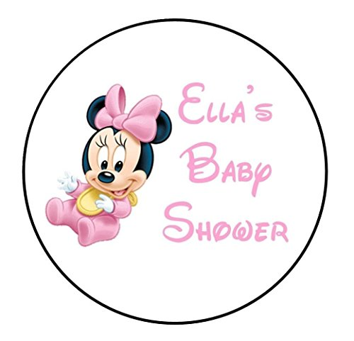 Set of 20 Baby Minnie Mouse Baby Shower Round-Stickers or Labels For Envelopes or Favor Boxes, etc. Perfect for Baby Shower, Birth Announcements, Birthdays, etc. (Minnie Mouse Custom Invitations compare prices)