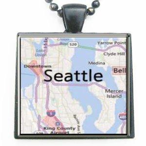 Seattle Washington Map Glass Black Tile Pendant Necklace With Black Chain
