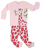 Elowel Girls Giraffe 2 Piece Pajama Set 100% Cotton - 12-18 Months Size: 12-18 Months, Model: giraffeg12-18m, Newborn & Baby Supply