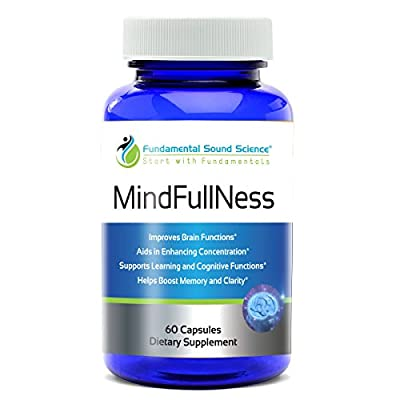 MindFullNess Herbal Dietary Supplements, Brain Function Booster & Cognitive Enhancer, Anxiety & Stress Relief & Supplements for Memory, Focus & Clarity w/ Ginko Biloba for men & women