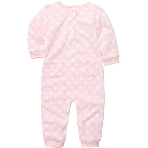 Carters Infant Girls Microfleece Jumpsuit - Pink & White Polka Dot - 9M front-1068024