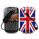 BLACKBERRY BOLD 9900 UNION JACK BACK COVER CASE / SHELL / SHIELD + SCREEN PROTECTOR + CAR CHARGER PART OF THE QUBITS ACCESSORIES RANGEby Qubits