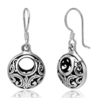 925 Oxidized Sterling Silver Bali Inspired Open Filigree Circle Dangle Hook Earrings Jewelry for Women - Nickel Free from Chuvora