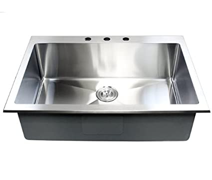 33 Inch Top-Mount / Drop-In Stainless Steel Single Bowl Kitchen ...