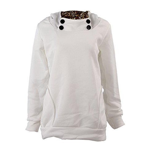 SODIAL (R) Donne Felpa Con cappuccio Leopard Tops Camicette Maglione Cappotto Pullover Bianco L